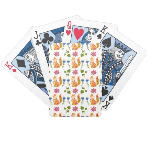 Pretty Pastel Foxy Floral Pattern Bicycle Playing Cards