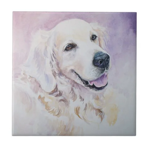 Golden retriever ceramic tile