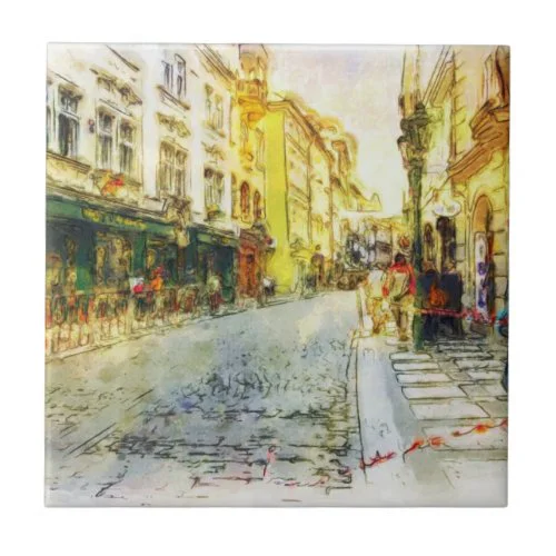 Streets of Old Prague watercolor Tile