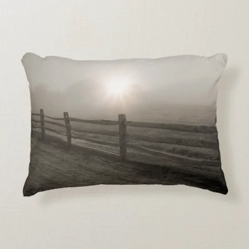 Fence and Sunburst Through Fog near Sharon Decorative Pillow