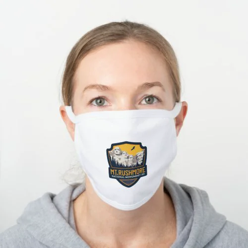 Mt. Rushmore National Monument SD White Cotton Face Mask