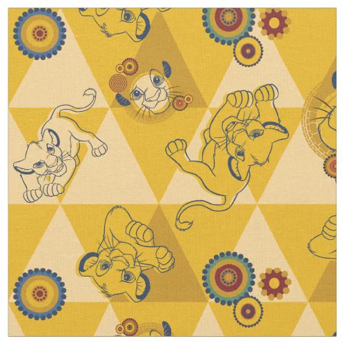 Lion King | Simba on Triangle Pattern Fabric
