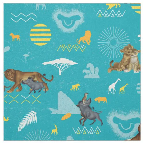 Lion King | Teal Characters & Icons Pattern Fabric