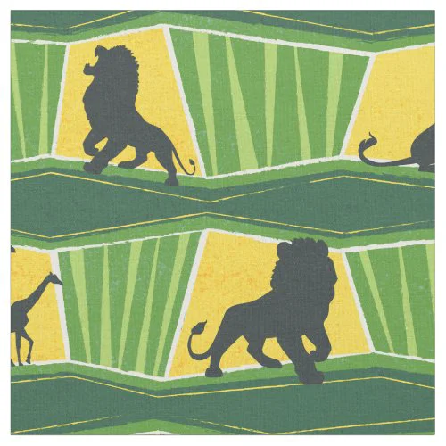 Lion King | Green & Gold Animal Pattern Fabric