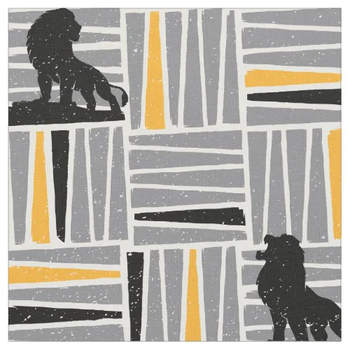 Lion King | Simba Gray & Gold Hatched Pattern Fabric