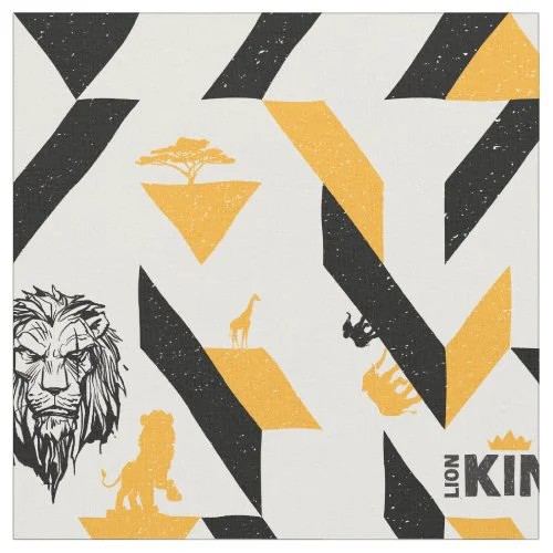 Lion King | Black & Gold Geometric Pattern Fabric
