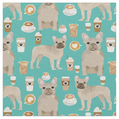 French Bulldogs Coffee Lover Turquoise Fabric