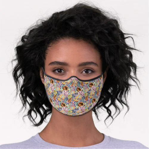 Colorful Travel Sticker Pattern Premium Face Mask