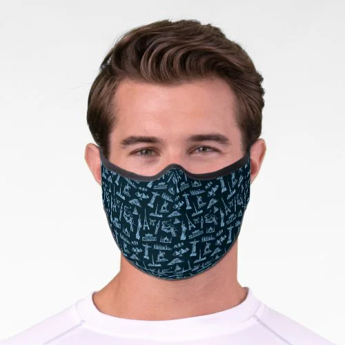 Travel Pattern In Blues Pattern Premium Face Mask