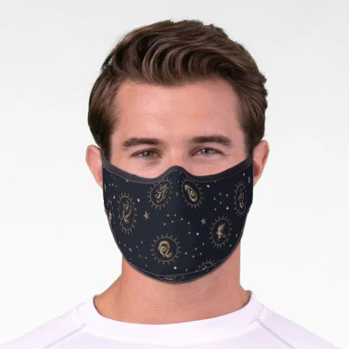 Hogwarts House Crests Constellation Pattern Premium Face Mask