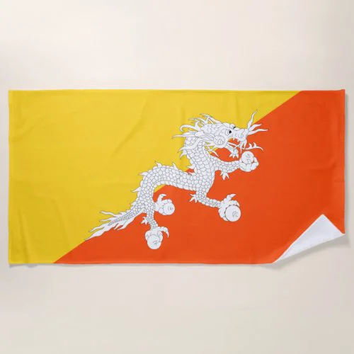 Flag of Bhutan Beach Towel