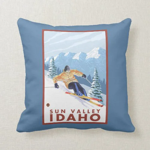 Downhhill Snow Skier - Sun Valley, Idaho Throw Pillow