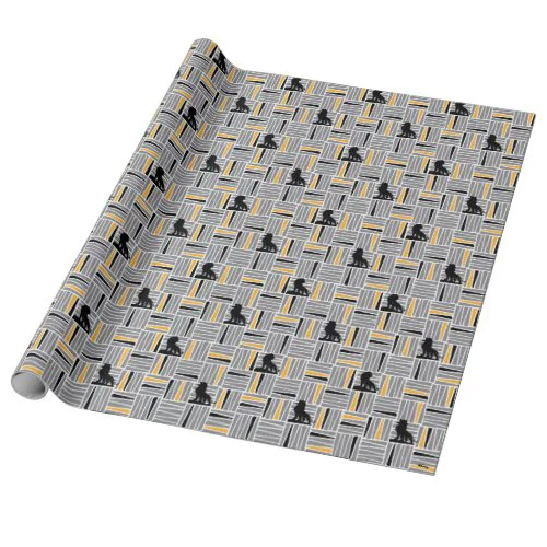 Lion King | Simba Gray & Gold Hatched Pattern Wrapping Paper