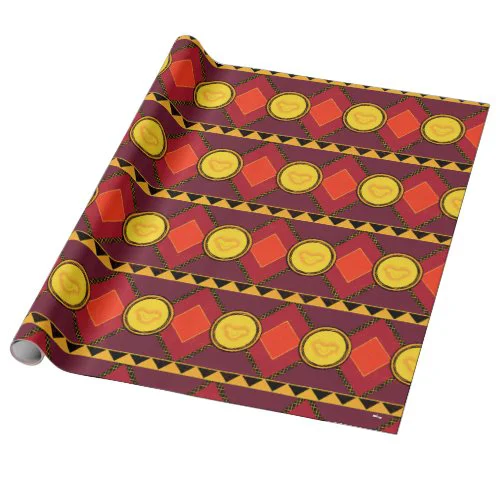 Lion King | Simba Icon African Style Pattern Wrapping Paper