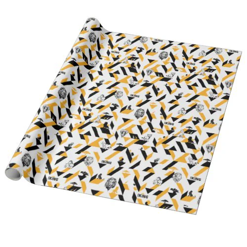 Lion King | Black & Gold Geometric Pattern Wrapping Paper