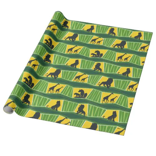 Lion King | Green & Gold Animal Pattern Wrapping Paper